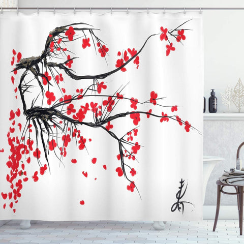 Fabric Shower Curtain Set with Hooks Sakura Blooming Tree