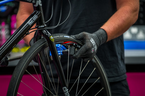 Inflating a bike tyre
