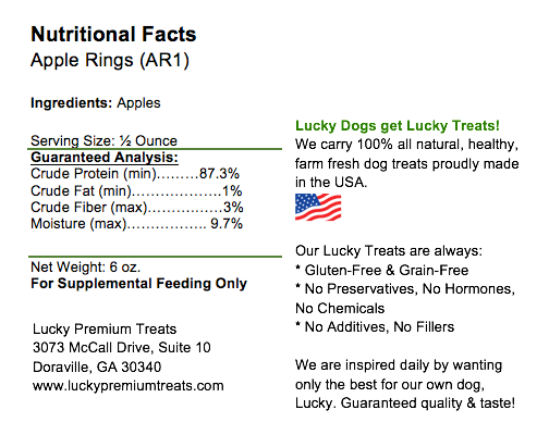 Lucky Premium Treats - Nutrition Label