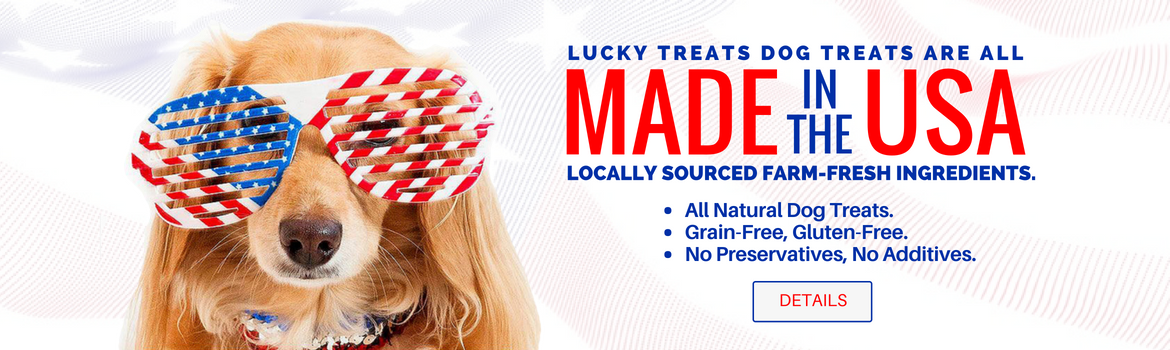 Lucky Treats dog treats are made in the USA.