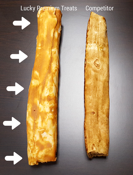 Peanut Butter Rawhide - Lucky Premium Treats (left) VS. Competitor (right)