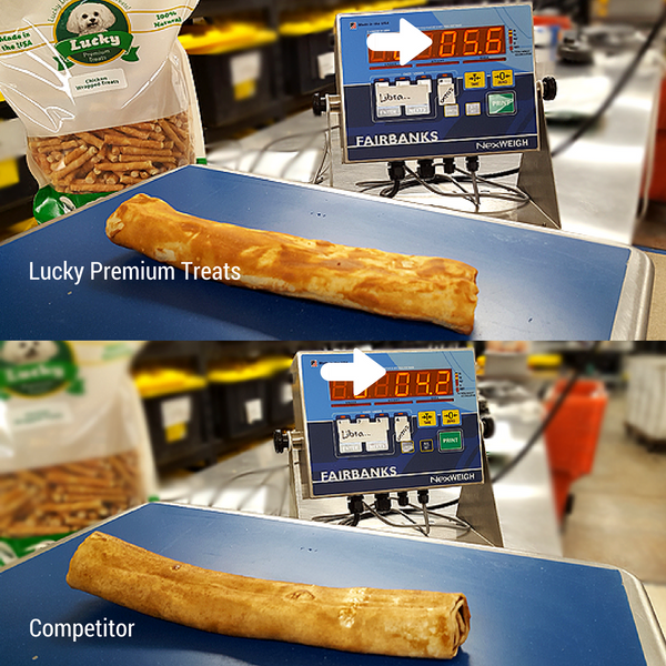 Peanut Butter Rawhide - Lucky Premium Treats (top) VS. Competitor (bottom)
