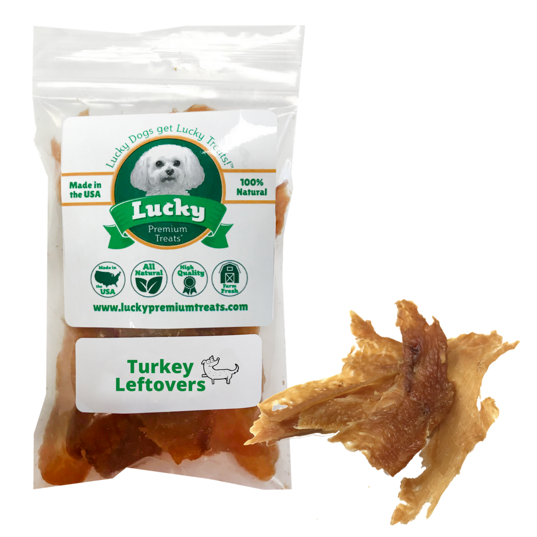 Lucky Premium Treats Turkey Leftovers Dog Treats - Turkey Jerky small bag
