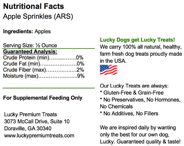 Lucky Premium Treats - Apple Sprinkles Dog Treats, nutrition label
