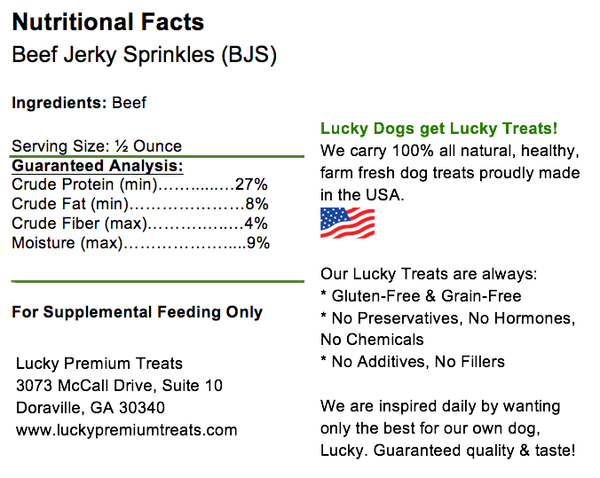 Lucky Premium Treats - Beef Jerky Sprinkles Dog Treats, Nutrition Label