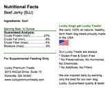 Lucky Premium Treats Beef Jerky, Nutrition Label