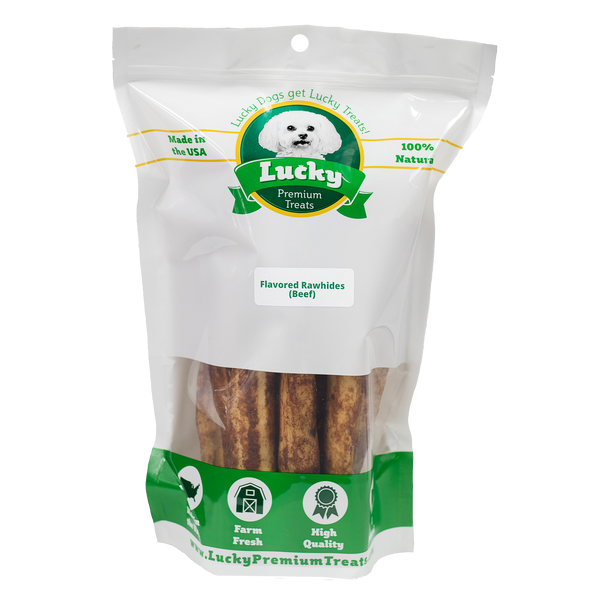 Lucky Premium Treats Beef Flavor Basted Rawhide Retriever Dog Treats for Large Dogs, Bag