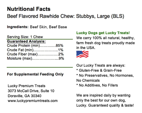 Lucky Premium Treats Beef Flavor Basted Rawhide Stubbys Dog Treats for Large Dogs, Nutrition Label