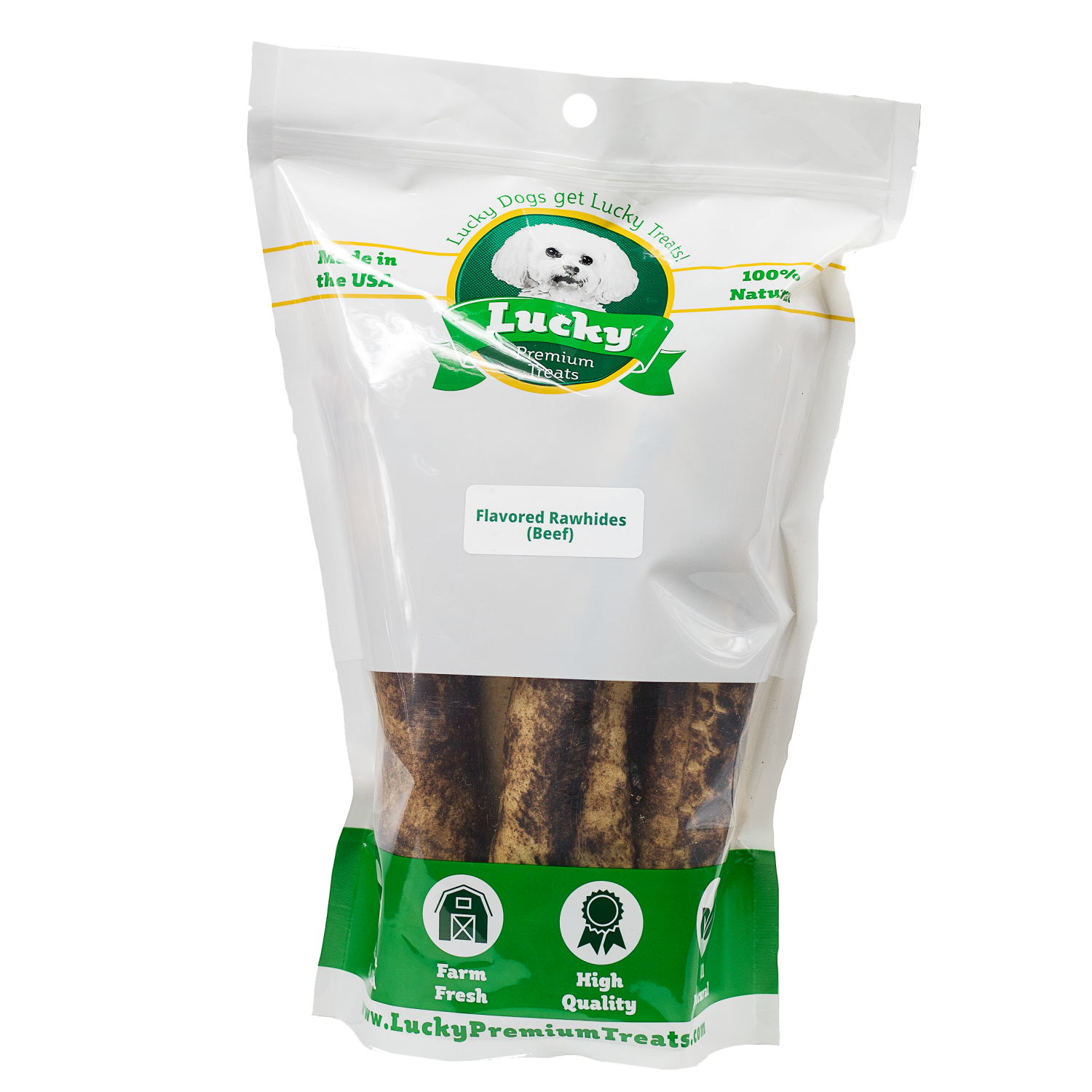 Lucky Premium Treats Beef Flavor Basted Rawhide Bull Stick Dog Treats for Large Dogs, Bag