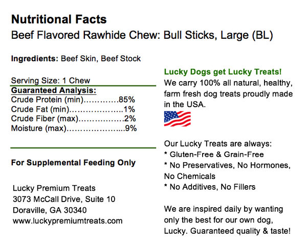 Lucky Premium Treats Beef Flavor Basted Rawhide Bull Stick Dog Treats for Large Dogs, Nutrition Label