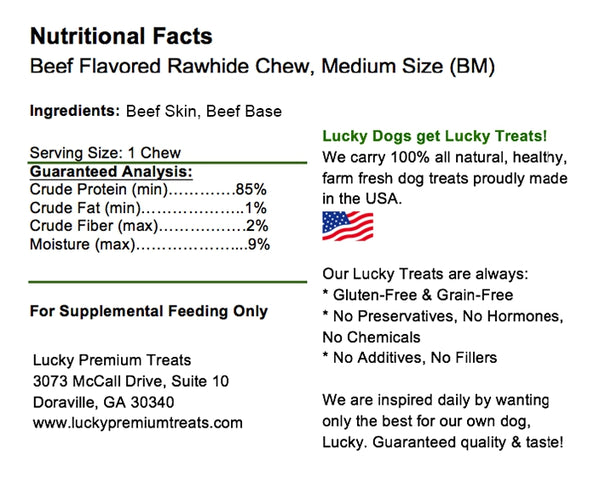 Lucky Premium Treats Beef Flavor Basted Rawhide Dog Treats for Medium Dogs, Nutrition Label