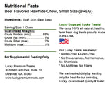 Lucky Premium Treats Beef Flavor Basted Rawhide Dog Treats for Small Dogs, Nutrition Label