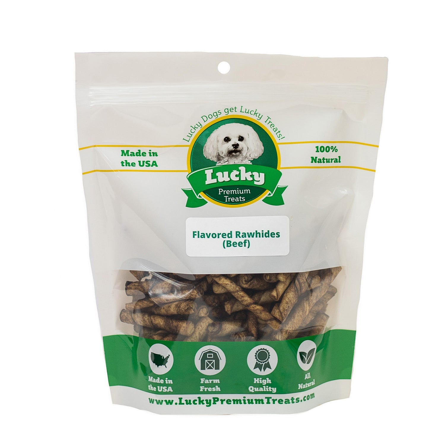 Lucky Premium Treats Beef Flavor Basted Rawhide Dog Treats for Toy and Lap Dogs, Bag