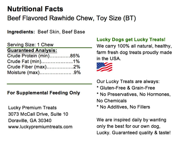 Lucky Premium Treats Beef Flavor Basted Rawhide Dog Treats for Toy and Lap Dogs, Nutrition Label