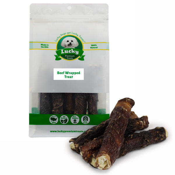 Beef Wrapped Rawhide Dog Treats for Medium Dogs 5 Count