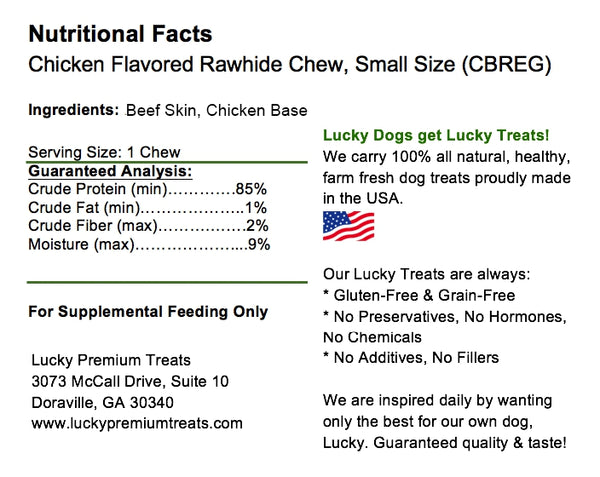 Lucky Premium Treats Chicken Flavor Basted Rawhide Dog Treats for Small Dogs, Nutrition Label