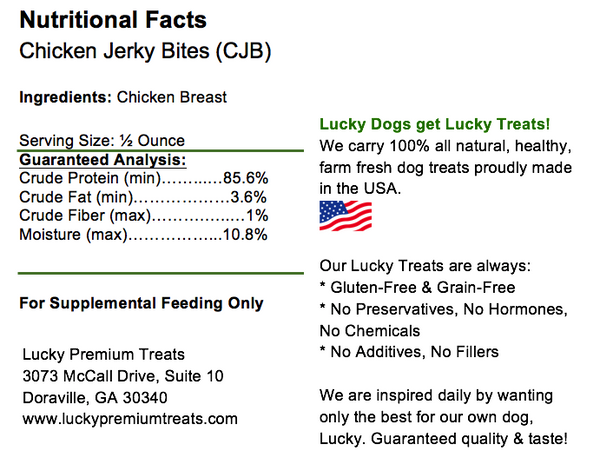 Lucky Premium Treats Chicken Jerky Bites, Nutrition Label
