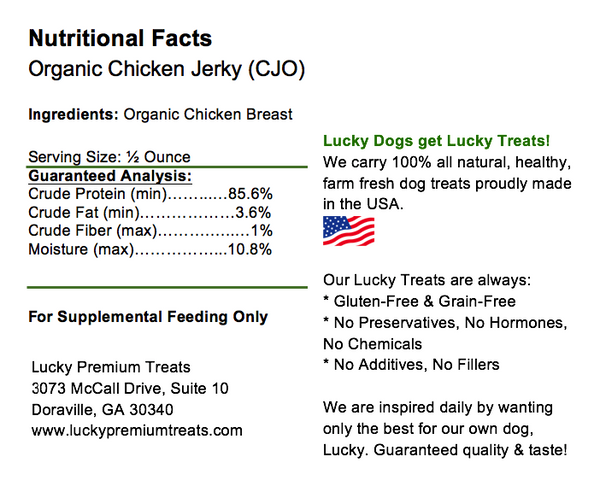 Lucky Premium Treats Dog Treats - Organic Chicken Jerky Fillets, Nutrition Label