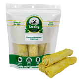 All natural, preservative free chicken basted rawhide dog treats for medium / large dogs