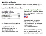 Lucky Premium Treats Chicken Flavor Basted Rawhide Stubbys Dog Treats for Large Dogs, Nutrition Label