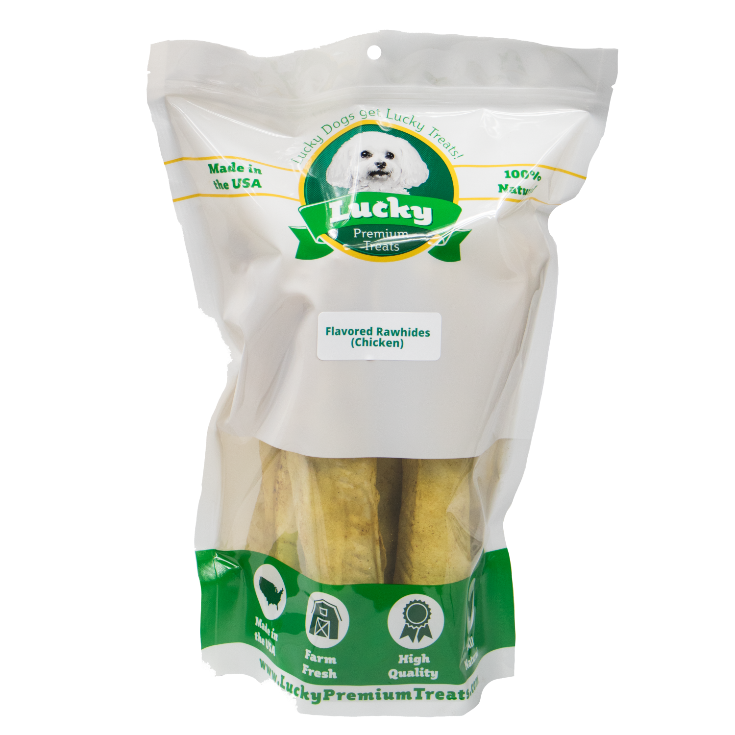 Lucky Premium Treats Chicken Flavor Basted Rawhide Bull Sticks Dog Treats for Large Dogs, Bag