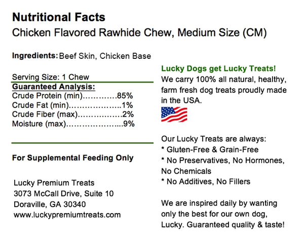 Lucky Premium Treats Chicken Flavor Basted Rawhide Dog Treats for Medium Dogs, Nutrition Label