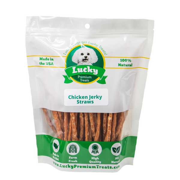 Lucky Premium Treats - Chicken Jerky Straws for Dogs, Bag