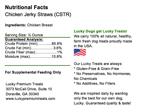Lucky Premium Treats - Chicken Jerky Straws for Dogs, Nutrition Label