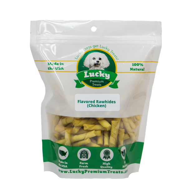 Lucky Premium Treats Chicken Flavor Basted Rawhide Dog Treats for Toy or Lap Dogs, Bag
