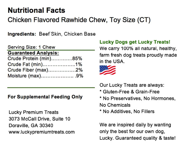 Lucky Premium Treats Chicken Flavor Basted Rawhide Dog Treats for Toy or Lap Dogs, Nutrition Label