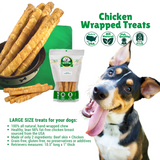 Chicken Wrapped Rawhide Retrievers Dog Treats for Large Dogs, infographic