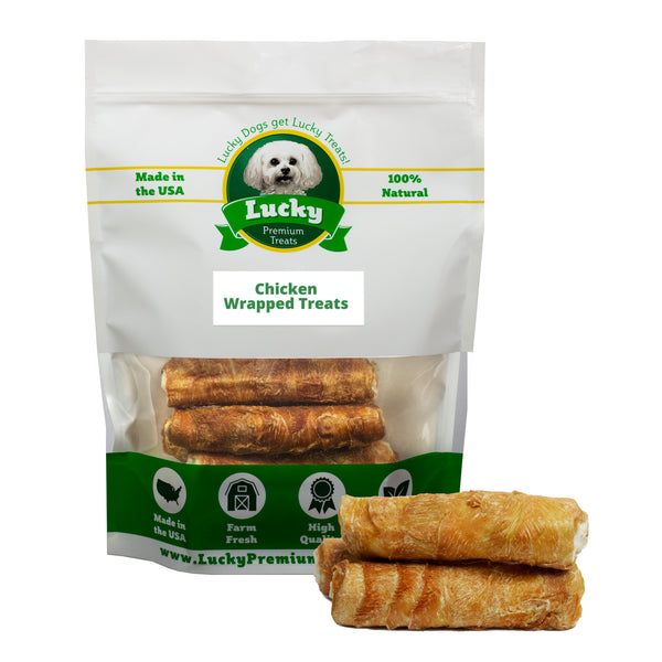 Chicken Wrapped Rawhide Treats Stubby Size for Medium & Large Dogs - Buy 20 Get 5 FREE! 25 Total Treats!)