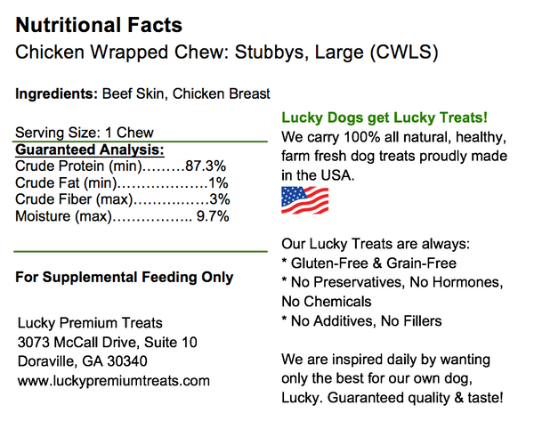 Chicken Wrapped Rawhide Stubbys for Medium to Large Size Dogs, Nutrition Label