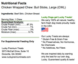 Chicken Wrapped Rawhide Bull Stick Dog Treats for Large Dogs, Nutrition Label
