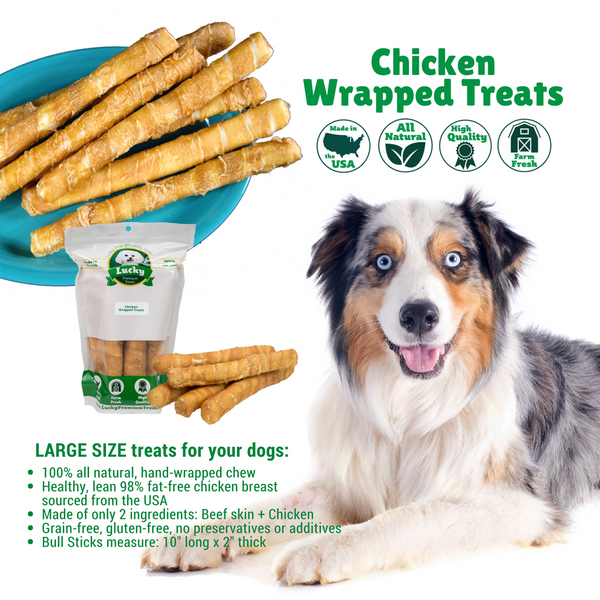 Chicken Wrapped Rawhide Bull Stick Dog Treats for Large Dogs, infographic