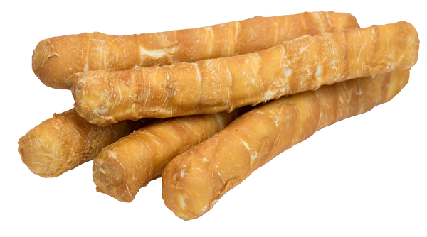 Chicken Wrapped Rawhide Bull Stick Dog Treats for Large Dogs, product