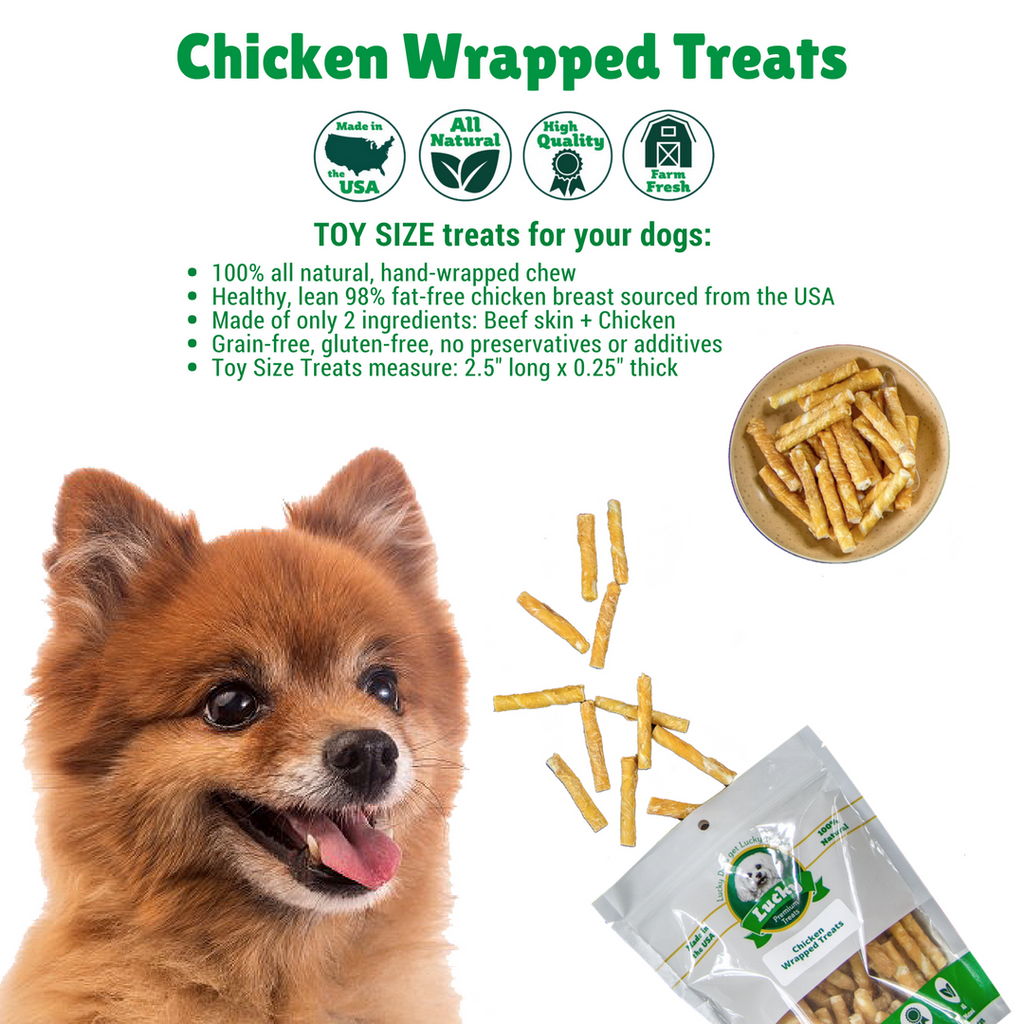 Chicken Wrapped Rawhide Dog Treats for Toy Dogs | Lucky Premium Treats | Healthy Chew Toys For Dogs