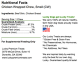 Chicken Wrapped Rawhide for Small and Regular Sized Dogs, Nutrition Label