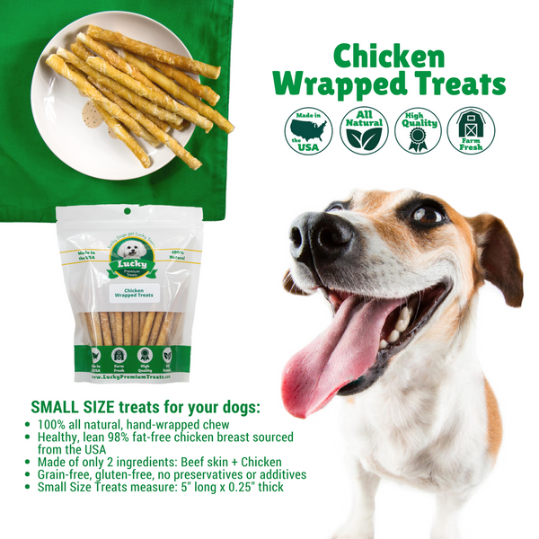 Chicken Wrapped Rawhide for Small and Regular Sized Dogs, infographic