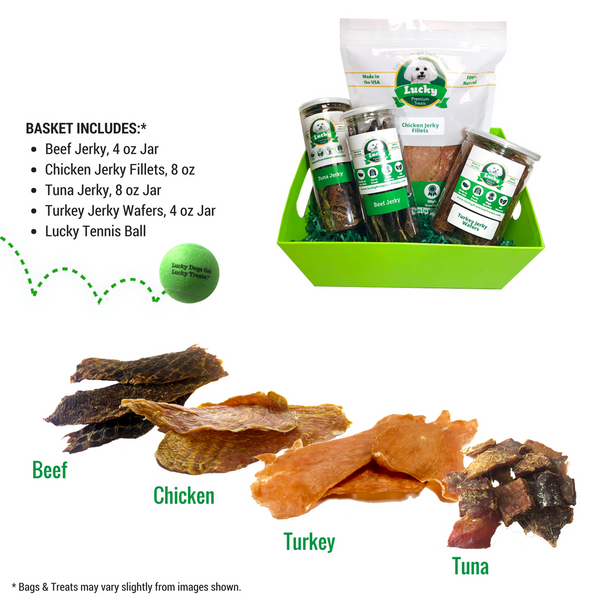 Lucky Premium Treats Gift Basket - Jerky 4 Ways collage