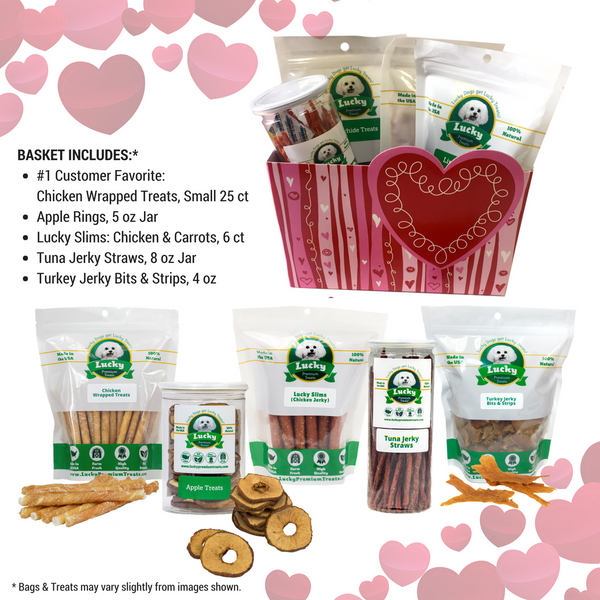 Lucky Premium Treats Gift Basket - I Woof You: Favorites Variety collage
