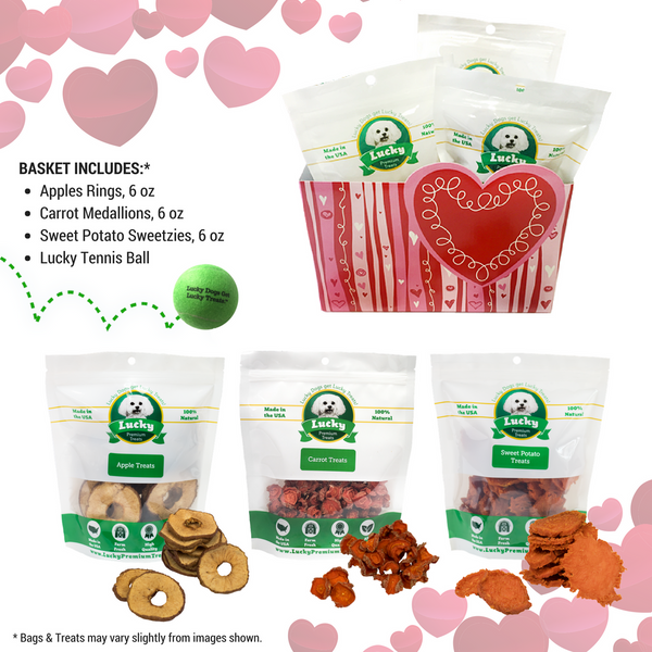Lucky Premium Treats Gift Basket - I Woof You: Fruits & Veggies collage