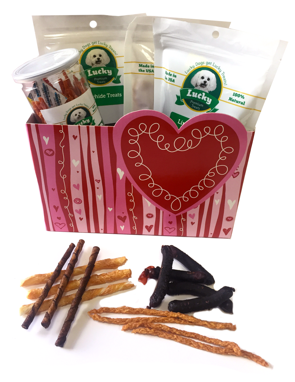 I Woof You Gift Basket<BR>Beef & Chicken Chews<BR>(Value Over $70+)