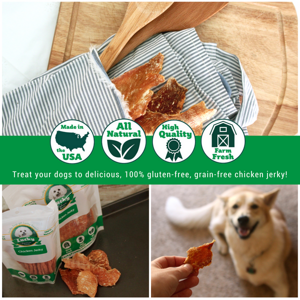 Lucky Premium Treats Dog Treats - Chicken Jerky Bits & Strips, Collage