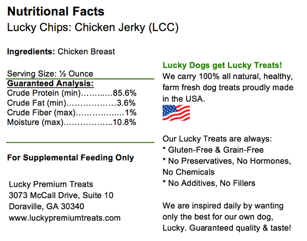 Lucky Premium Treats Lucky Chips for Dogs, Nutrition Label