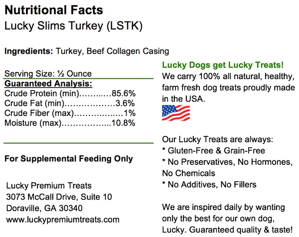 Lucky Slims Turkey Dog Treats, label