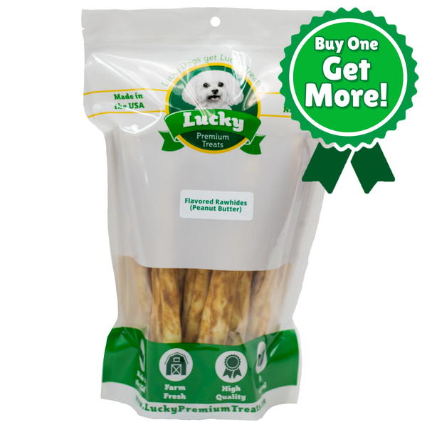 Peanut Butter Basted Rawhide Retrievers for Large Dogs - Buy 20 Get 5 Free