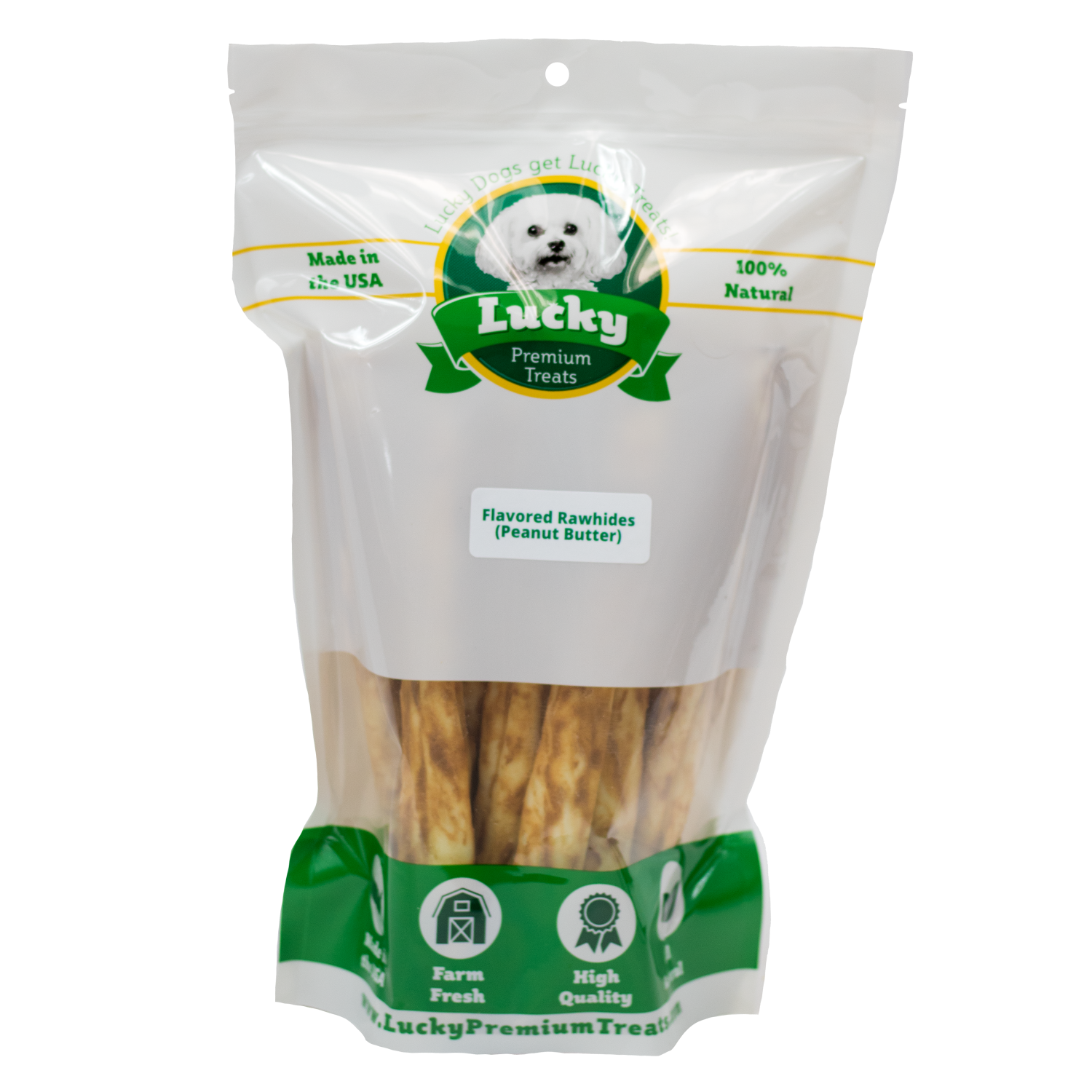 Lucky Premium Treats Peanut Butter Flavored Rawhide Retrievers Dog Treats for Large Dogs, Bag