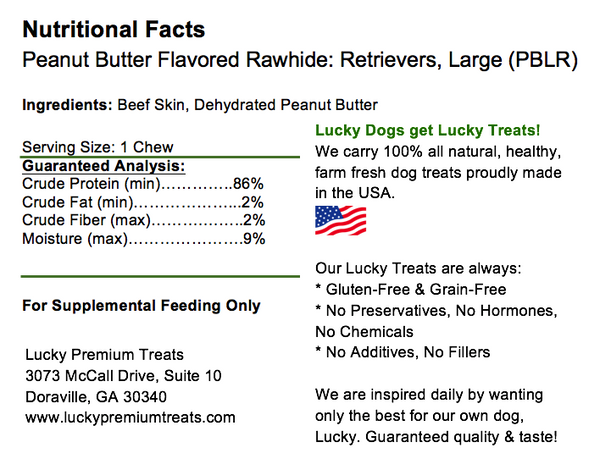 Lucky Premium Treats Peanut Butter Flavored Rawhide Retrievers Dog Treats for Large Dogs, Nutrition Label