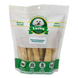Lucky Premium Treats Peanut Butter Flavored Rawhide Dog Treats for Medium Dogs, Bag